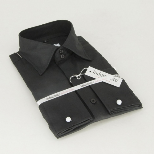 Классическая мужская рубашка манжет под запонку арт. O3M-12FBLK