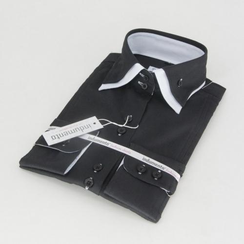 Женская блузка с двойным воротником арт. W3W-22FBLKWHT
