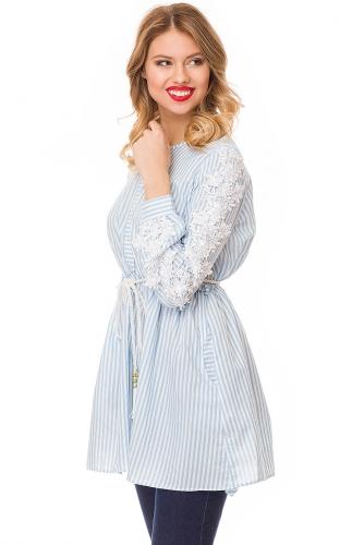 Блуза #81910Белый/Голубая полоска