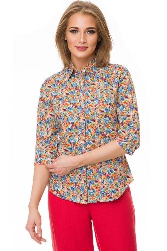 Рубашка #80356Оранжевый/голубой