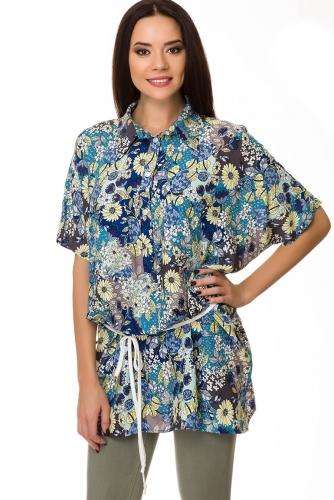 Блуза #75425Серый цветы