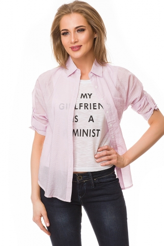 Рубашка #80077Розовый