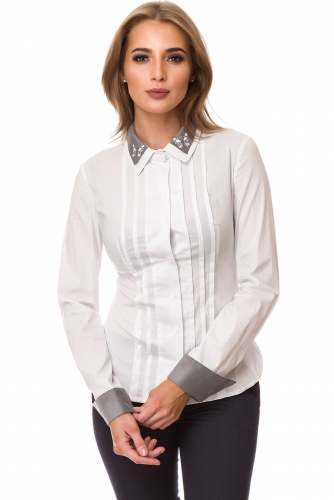 Рубашка #77455Белый/Серый