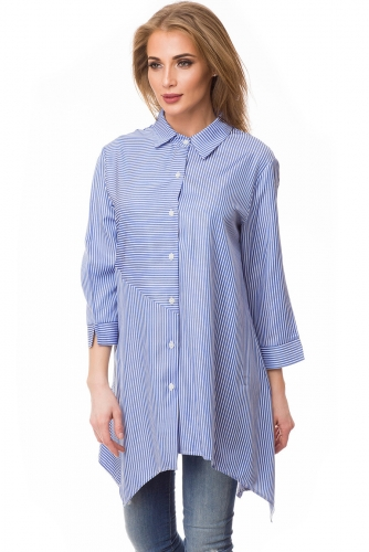 Блузка #80659Синий/полоска