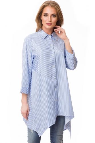 Блузка #80663Голубой/полоска