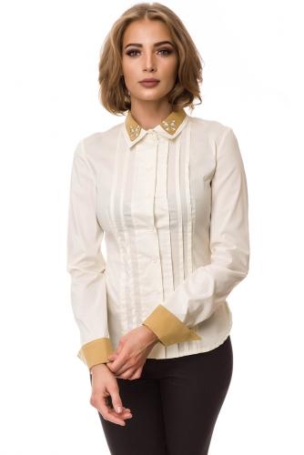 Рубашка #77648Молочный/Бежевый