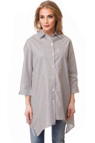 Блузка #80662Черный/полоска