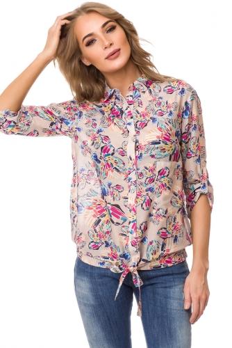 Блуза #76595Бежевый