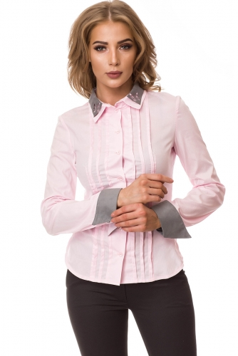 Рубашка #77639Розовый/Серый