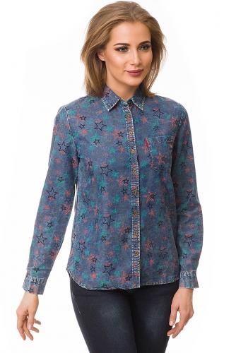 Рубашка #80075Джинс/звезды
