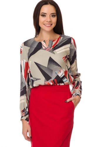 Блуза #75490Оливковый