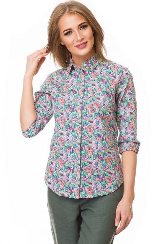 Рубашка #80357Зеленый/розовый