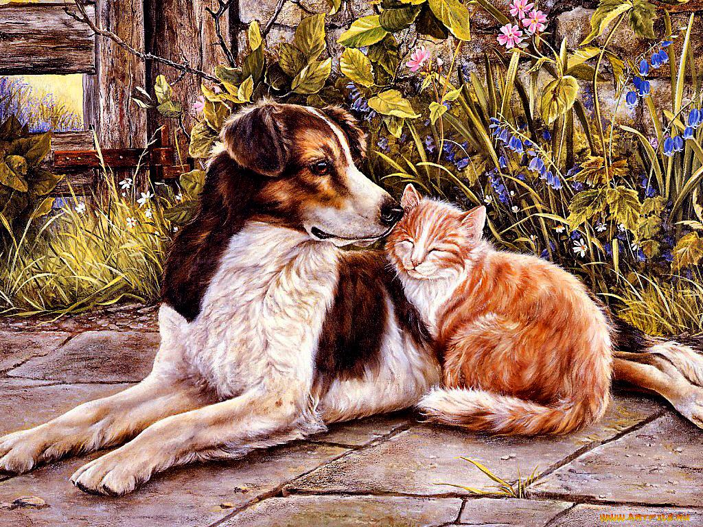 Открытки с собаками и кошками прикольные