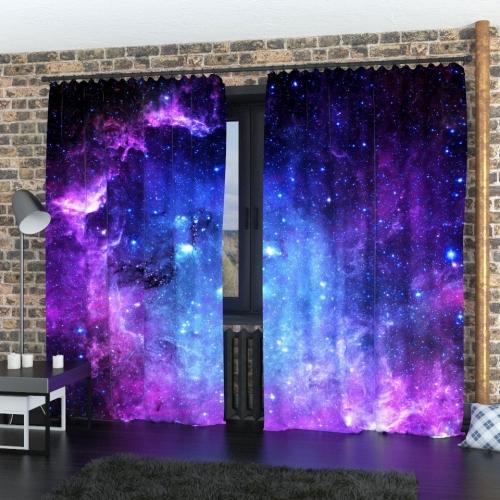 Фотошторы Фиолетовое звёздное небо
