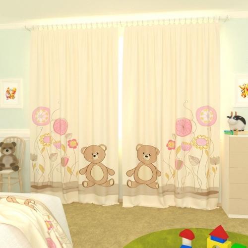 Детские фотошторы Мишка и цветы