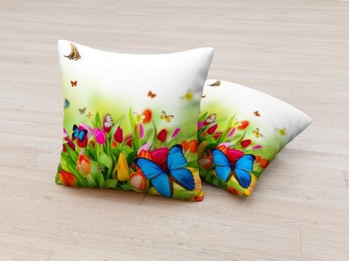 Фотоподушка Бабочки на цветах