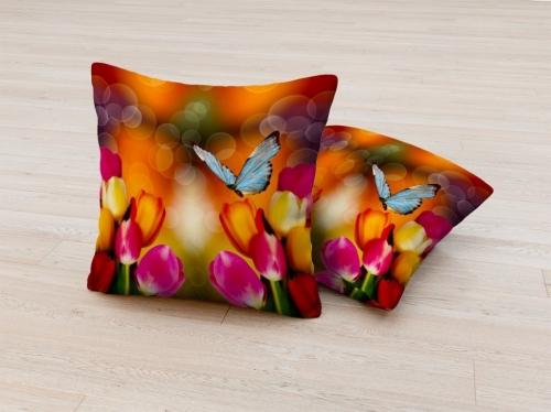 Фотоподушка Тюльпаны с бабочкой