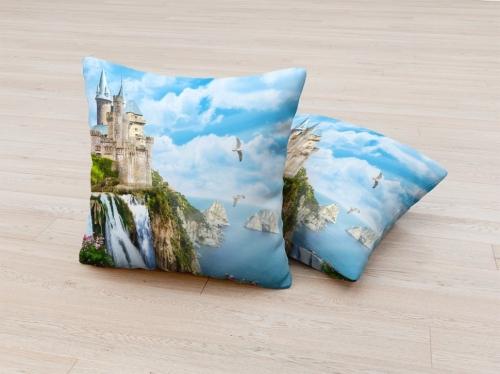 Фотоподушка Замок с водопадом