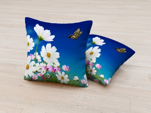 Фотоподушка Цветы и бабочки