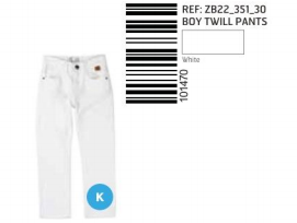 PANTS TWILL WASHED WHITE