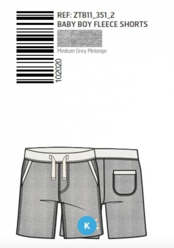 SHORTS FRENCH TERRY PLAIN GREY