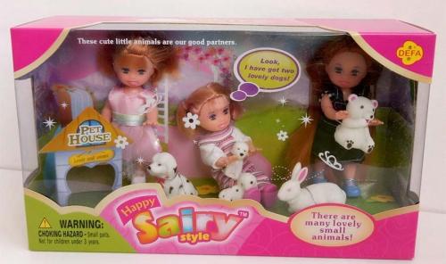 Набор куколки+животные (мишка, кролик, собачки)