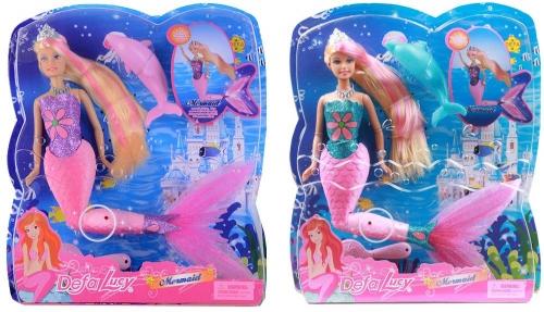 Кукла DEFA Lucy Русалочка со светящимся хвостом+расческа+дельфин