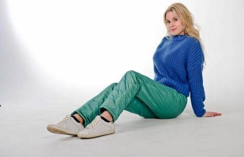 Стеганные утепленные женские брюки с высокой спинкой арт 115PS, цвет - изумруд