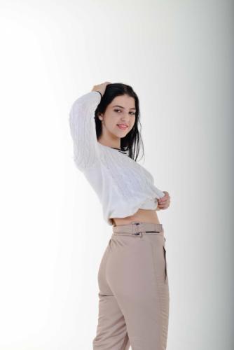 Утепленные женские брюки с высокой спинкой, цвет- капучино