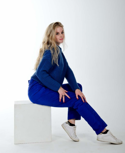 Стеганные утепленные женские брюки с высокой спинкой, цвет синий