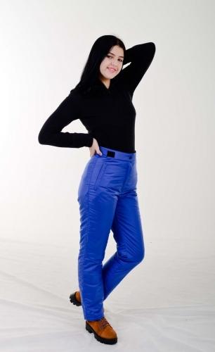 Утепленные женские брюки с высокой спинкой, на липучке, цвет- синий