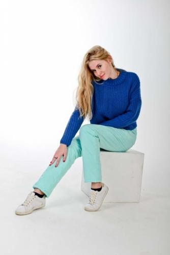 Стеганные утепленные женские брюки с высокой спинкой, цвет ментол