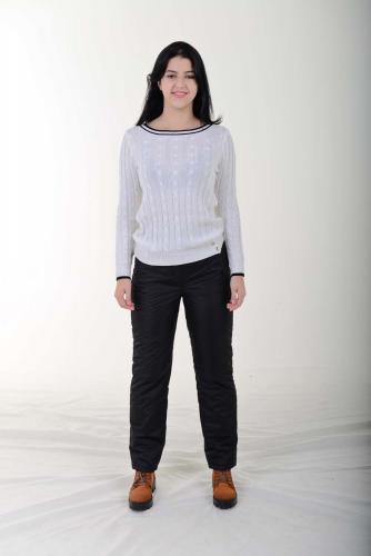 Утепленные женские брюки с высокой спинкой, цвет- черный