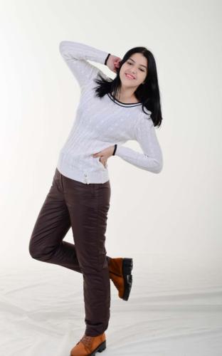 Утепленные женские брюки с высокой спинкой, цвет- шоколад