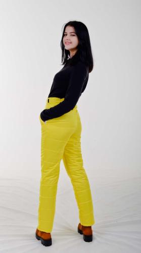 Стеганные утепленные женские брюки с высокой спинкой арт 115PS, цвет -желтый