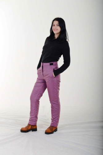 Утепленные женские брюки с высокой спинкой, на липучке, цвет- розовый