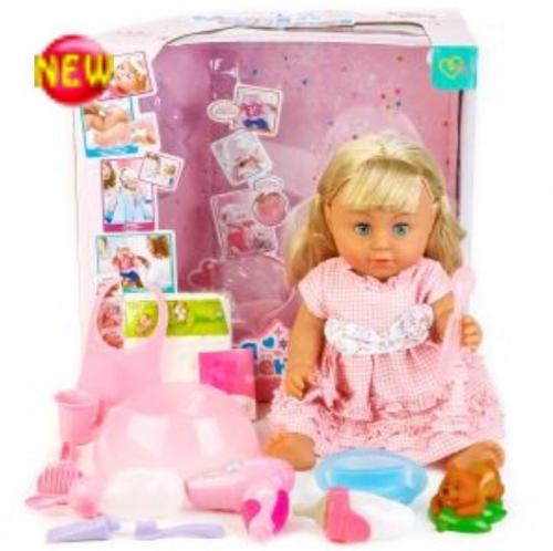 Кукла пьет, писает, глазки закрывает +аксессуары для кормления, причесок, горшок (копия Ba*by Bo*rn)