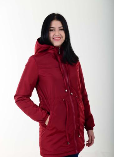 Утепленный женский плащ с капюшоном, цвет-бордовый