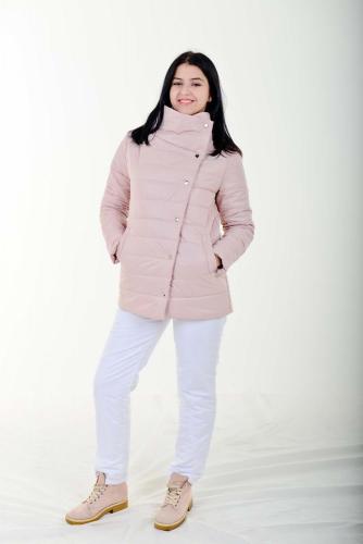 Утепленная стеганая женская куртка асимметричного кроя, арт. KG-007
