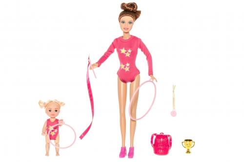 Куклы гимнастки мама с дочкой в голубом костюме с набором наград, рюкзачком и обручем (28и 10 см)