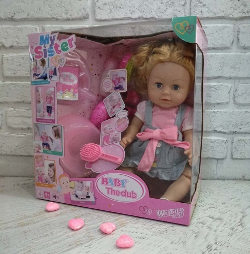 Кукла пьет, писает, глазки НЕ закрываются, ноги сгибаются +аксессуары для кормления, причесок, горшок+БОТИНКИ (копия Ba*by Bo*rn)