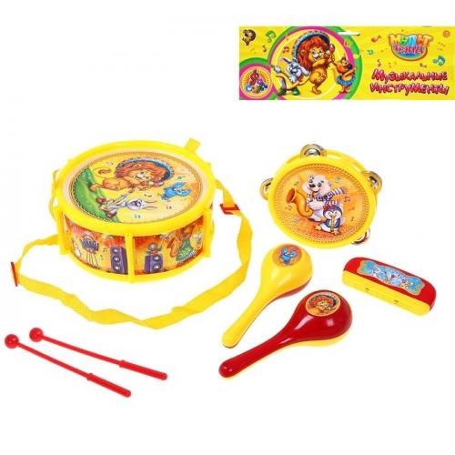 Набор музыкальных инструментов «Мульт Бэнд-2», 7 предметов: барабан, бубен, 2 маракаса, губная гармошка, 2 палочки