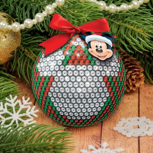 Новогодний ёлочный шар Микки Маус с пайетками