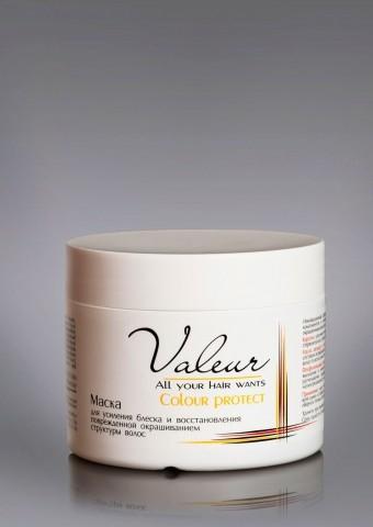 Маска для усиления блеска и восстановления повреж. окрашиванием структуры волос, 300г Valeur Liv Del