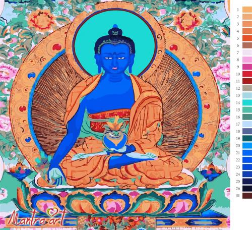 Будда медицины Картины-раскраски по номерам 40х40