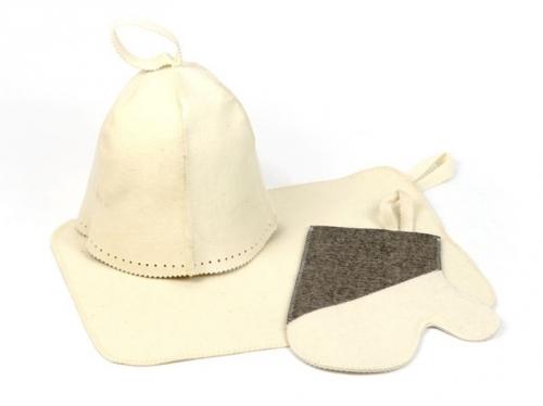 Набор для сауны КЛАССИЧЕСКИЙ(шапка,рукавица,коврик). БВ022