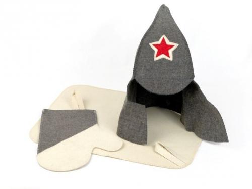 Набор для сауны МУЖСКОЙ (буденовка,рукавица,коврик). БВ023