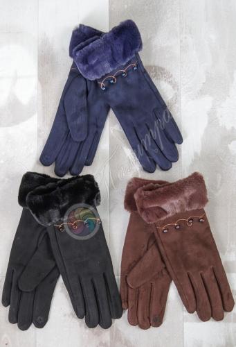 Перчатки женские, сенсор (под замшу)