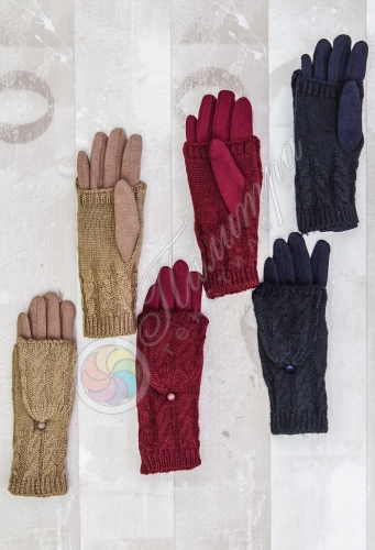 Перчатки-варежки с митенками, женские