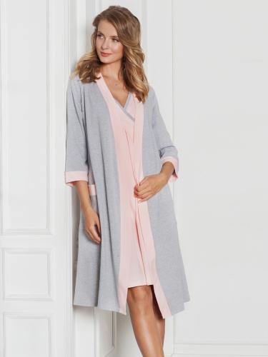 Комплект для роддома Моника серый+персик (халат +сорочка)